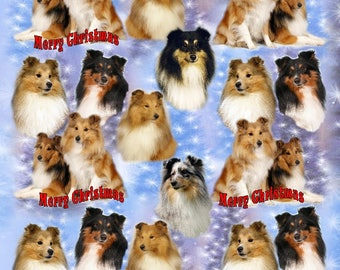Shetland Sheepdog / Sheltie Dog Christmas Gift Wrapping Paper.