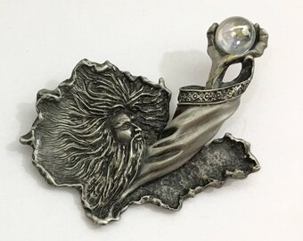 Pewter Wizard with Crystal Brooch