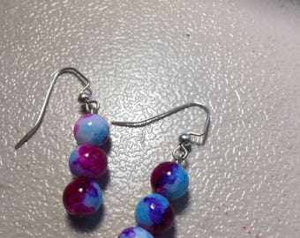 Multi colored beaded earrings