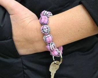 Keychain Bracelet, Bracelet Keychain, Beaded, Key Wristlet, Handsfree Keychain, Bracelet for Keys, Keychain Jewelry, Fashion Keychain, Pink