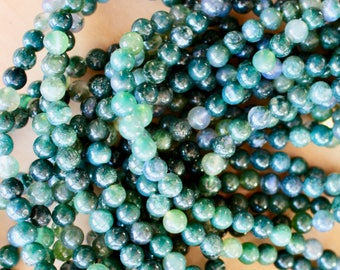 4mm Moss Agate beads, full strand, natural stone beads, round, 40002
