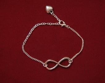 Pretty silver love infinity bracelet