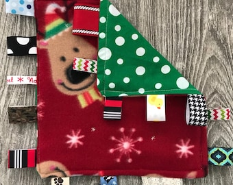 Reindeer and Green Spots Holiday Tag Blanket