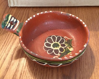 Vintage Mexican Folk Art Clay Handled Pot