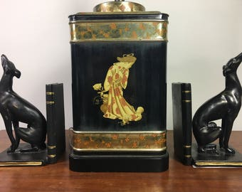 Fredrick Cooper Vintage Asian Chinoiserie Tea Canister Lamp