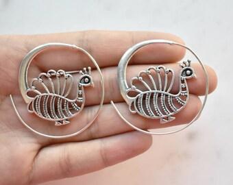 Silver Peacock Earrings, Silver Cuff Wrap Earrings, Wire Wrapped Earrings, Peacock Hoop Earrings, Statement Earrings, Nickle Free Earrings