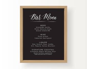 8x10 White on Black_Wedding Reception Sign_Bar Menu