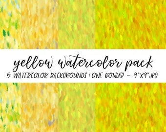 Watercolor Backgrounds Pack, Textures Bundle, Watercolor Digital Paper, Yellow Watercolor Background, Watercolor Background