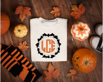 Halloween Bat Monogram T-shirt, Halloween t-shirt, monogrammed tee