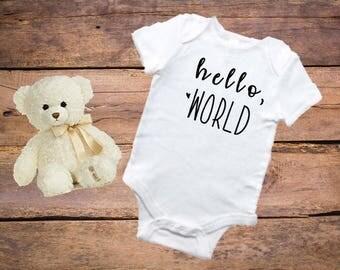 Hello World onesie, Baby announcement onesie, baby onesie