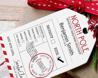 Customisable Santa Gift Tags For Children