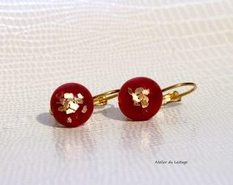 Earrings red glass