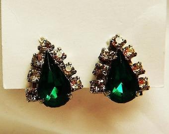 On SALE Vintage Faux Emerald, Rhinestone and Silver Earrings - Green Earrings - Screw Back Costume Earrings - Bling Accessory