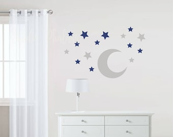 Moon and Stars Fabric Wall Stickers - Wall Decal
