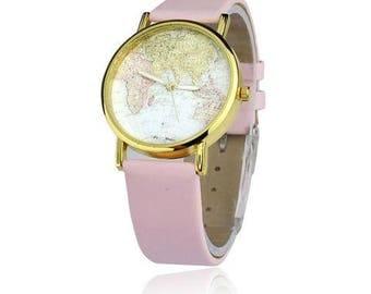 The Fabulous Wanderer Watch, World Map watch,  Leather Strap watch, Classic, elegant, globe