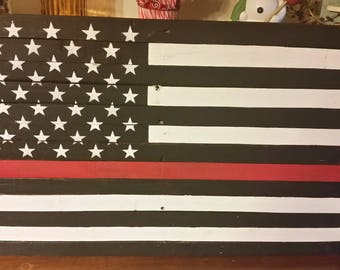 Firefighter thin red line flag-rustic pallet sign