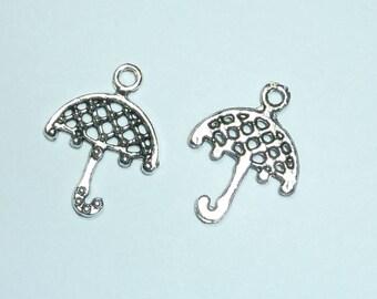 "5 ""umbrella"" 21x16mm openwork silver metal charms"