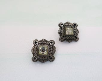 60s Clip On Earrings, Vintage 1960 Silver Tone Metal Clip On Earrings , Boho Mod, Valentine's Day, Gift for her