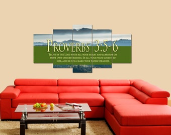Proverbs 3:5-6 #54 NIV Trust in the Lord Bible Verse Canvas | Christian Canvas | Scripture | Religious | Wall Art | Home Decor Paintings