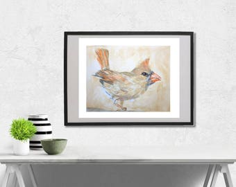Female Northern Cardinal watercolor painting