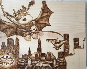 Wood burning art snaoopy in batman