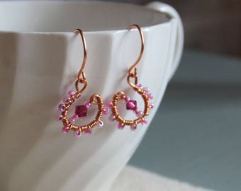 Light Pink and Magenta Swarovski Crystal Copper Wire Hand Wrapped earrings Gifts for her/Bride/Birthday/Christmas/Engagement/Anniversary