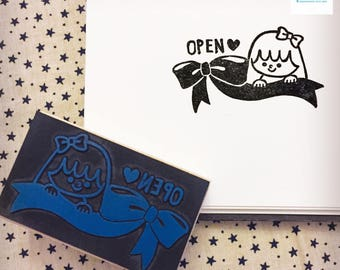 Hand Carved Open Rubber Stamp
