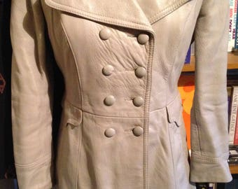 Dove Grey Vintage 60's Leather Double Breasted Jacket Coat