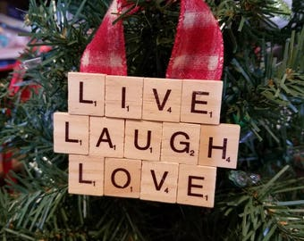 Live Laugh Love Christmas Ornament - Holiday Decor - Holiday Gift - Scrabble