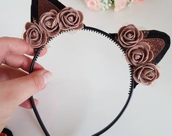 Cat ears headband,Kitty Ears,Cat Headband,Flower,Flower Headband,Cat Ears,Cat Headband,Kitty Cat,Flower Cat ears,Girl kitty  ears,Photo Prop