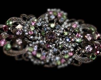 VINTAGE Miriam Haskell Faux Pearl Multi-Colored Rhinestone Brooch and Earrings