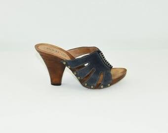 Blue Leather LASOCKI Peep Toe Slip On Clog Women's Sandals Shoes Size 3/36