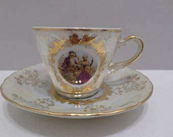 Vintage Demitasse Cup and Saucer Hand Painted Made in Japan