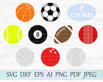 Sport Bundle svg, Balls clipart, Sport ball svg, Balls clip art, Balls vector, Balls cut file, Football svg file, Soccer svg, Basketball svg
