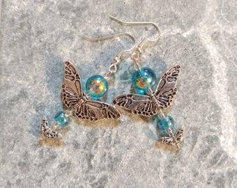 Blue Butterfly Earrings, Blue Butterfly Dangle Earrings, Shiny Blue Butterfly Earrings, Silver tone Blue Beaded Butterfly Earrings