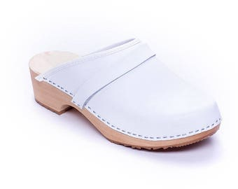 Clogs for women swedish clogs LEATHER shoes White clogs wooden clogs wood clogs New clogs