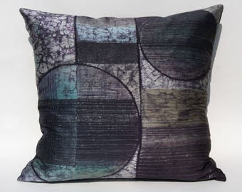 Silk Batik Decorative Pillow: SPHERICAL LINES