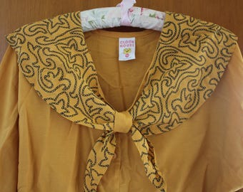 Yellow / mustard vintage clockhouse blouse with big bow and batwing sleeves S-M small medium autumn winter 70s 80s fashion style clothing