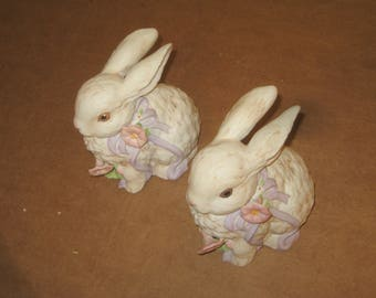 Ceramic Bunny Musical Figruines  set of 2   [6569bt'