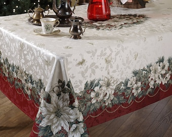 Noel Tablecloth, Rectangular Holiday Tablecloth, Linen Table Top, Linen  Table Cover, Christmas