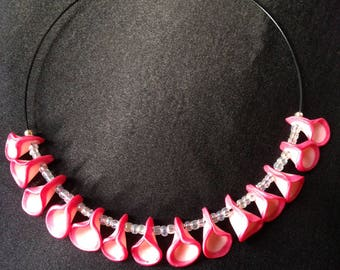 "Necklace ""Petals"" with white beads"