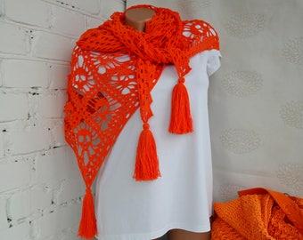 Skull shawl Orange knit shawl Crochet shawl Lace crochet shawl Cotton shawl Linen shawl Beach shawl Boho shawl Bohemian shawl Triangle shawl