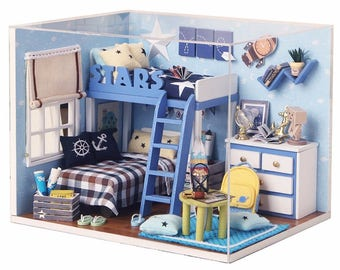 Blue Boys Bedroom Miniature Dollhouse