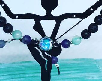 Adjustable Bracelet - essential oil diffuser - lava beads - boho - unique gift - petite pendant - amazonite - amethyst -silver