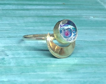 Sterling silver moon ring  - moon ring - silver ring - handpainted cabochon  - pink ring