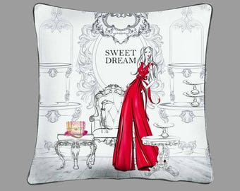 PILLOW COVER Decorative pillow case Home textile decor Best gift for her Fashion illustration decor Fashion girl pillow case Textile Decor