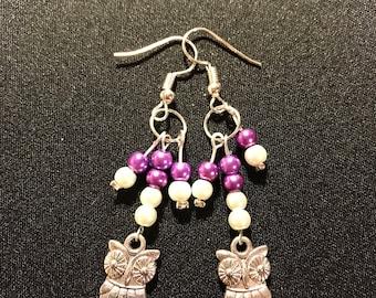 owl earrings // dangling owl earrings // purple and white beaded earrings (Angelina)
