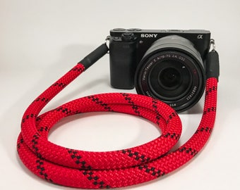 Handmade Camerastrap red - Shoulderstrap - Rope - worldwide shipping - Sony Nikon - Camerarope - Camera strap for all cameras photo