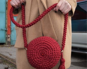 Crossbody bag, crochet bag, handmade crochet bag, knitted bag, t-shirt yarn bag