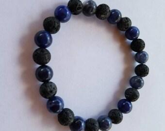 Sodalite and Lava stone diffuser bracelet